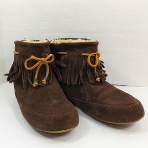 Lucky Brand Brown Moccasin Bedroom Slippers Fur 8